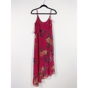 Xhilaration - Pink Floral Asymmetrical Maxi Dress
